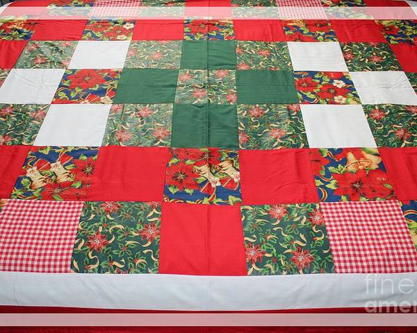 Quilts Poster featuring the tapestry - textile Quilt Christmas Blocks by Barbara Griffin