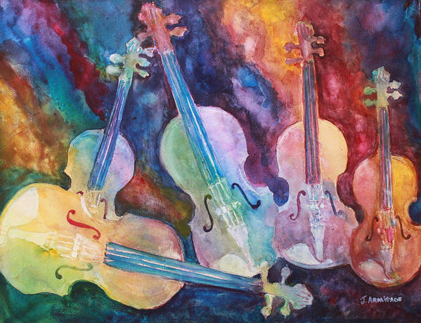 Violin Poster featuring the painting Quintet in Color by Jenny Armitage