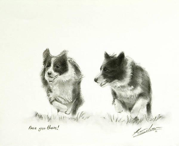 Dog Paintings Poster featuring the pastel Race You There by John Silver