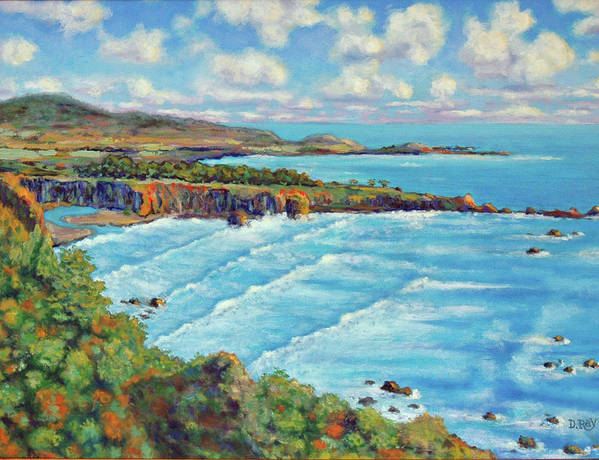 California Coast Poster featuring the painting Ragged Point California by Dwain Ray