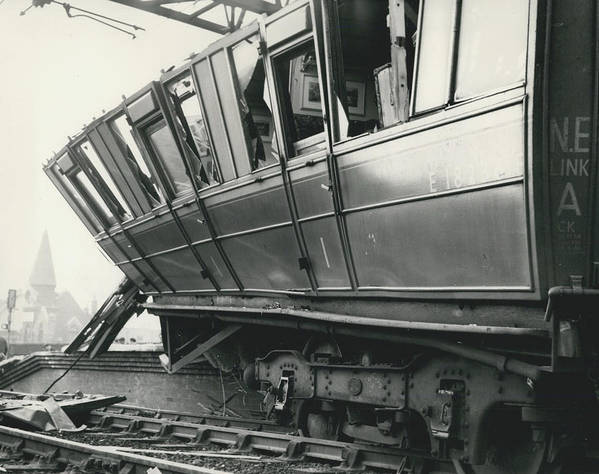 retro Images Archive Poster featuring the photograph Rail Crash At Bethnal Green Four Coaches Derailed And by Retro Images Archive