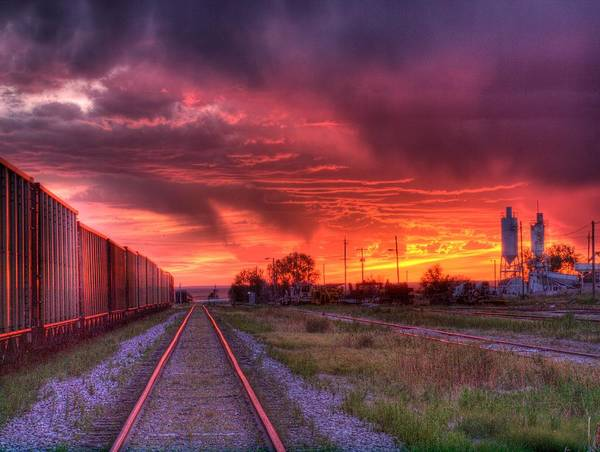 Train Poster featuring the photograph Rails To A Red Sunset by HW Kateley