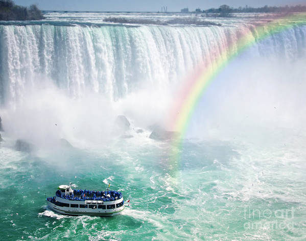 Niagara Poster featuring the photograph Rainbow And Tourist Boat At Niagara Falls by Elena Elisseeva