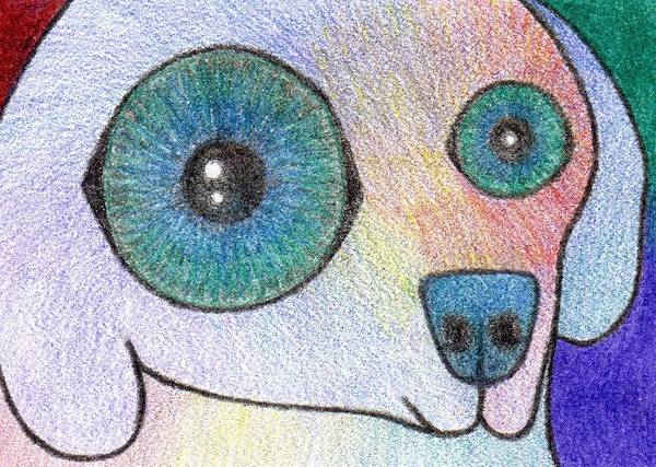 Dog Poster featuring the drawing Rainbow Dog by Annie Nelson