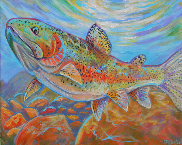 Rainbow Trout Poster featuring the painting Rainbow by Jenn Cunningham
