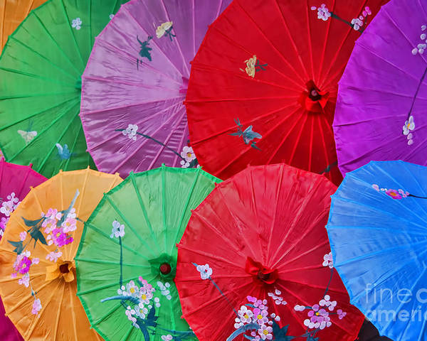Alexandrajordankova Poster featuring the photograph Rainbow Of Parasols  by Alexandra Jordankova