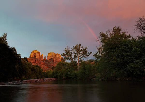 2014 Poster featuring the photograph Rainbow Over Cathedral Rocks by Larry Pollock