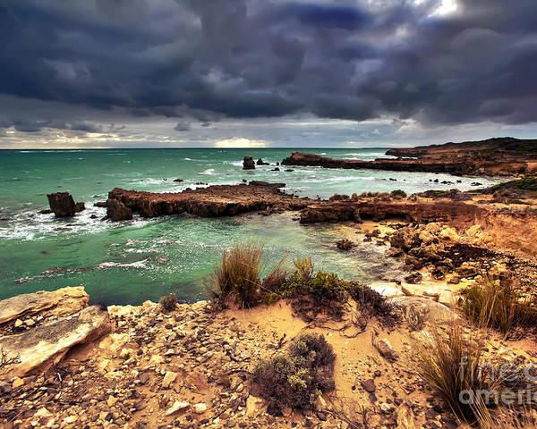 Seascape Limestone Coast Beach Rainbow Storm Clouds Rocks South End Se South Australia Poster featuring the photograph Rainbow Rocks by Bill Robinson