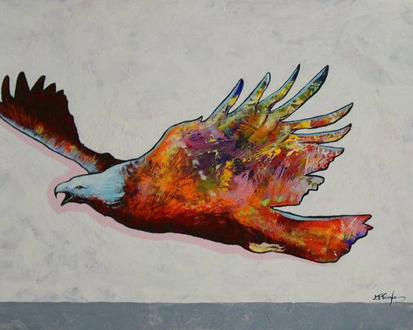 Wildlife Poster featuring the painting Rainbow Warrior Flying Eagle by Joe Triano