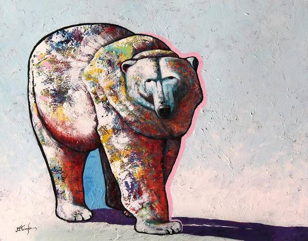 Wildlife Poster featuring the painting Rainbow Warrior-Ice Bear by Joe Triano