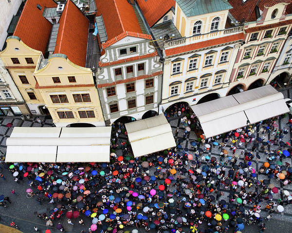 Old Town Square Poster featuring the photograph Rainy Day In Prague-1 by Diane Macdonald