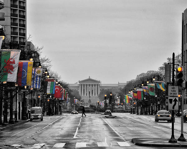 Rainy Poster featuring the photograph Rainy Day On The Parkway by Bill Cannon