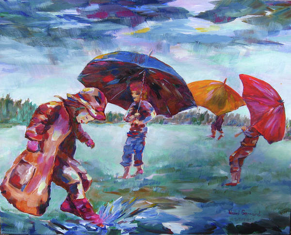 Rainy Day Scene Poster featuring the painting Rainy Days by Naomi Gerrard