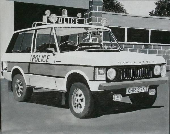 Police Poster featuring the painting Range Rover Cop Car by Sid Fox