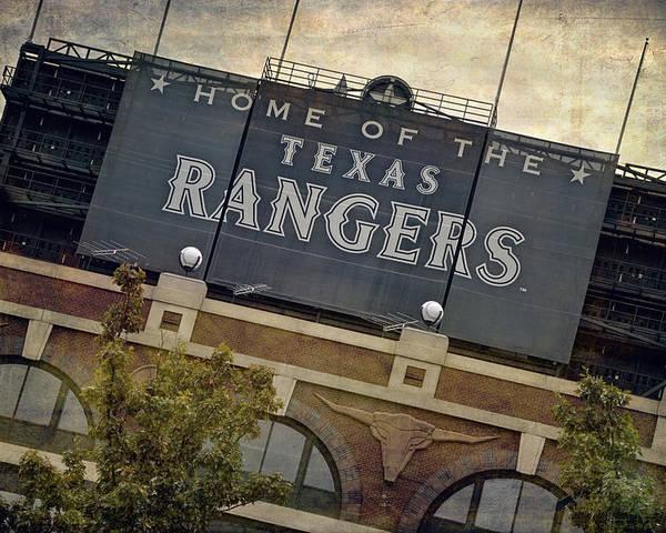 Joan Carroll Poster featuring the photograph Rangers Ballpark In Arlington Color by Joan Carroll