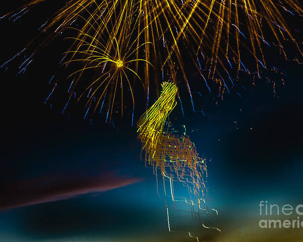 Fireworks Poster featuring the photograph Rays Of Light From Above by Robert Bales