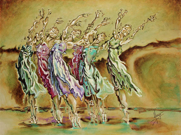 Ballet Poster featuring the painting Reach Beyond Limits by Karina Llergo