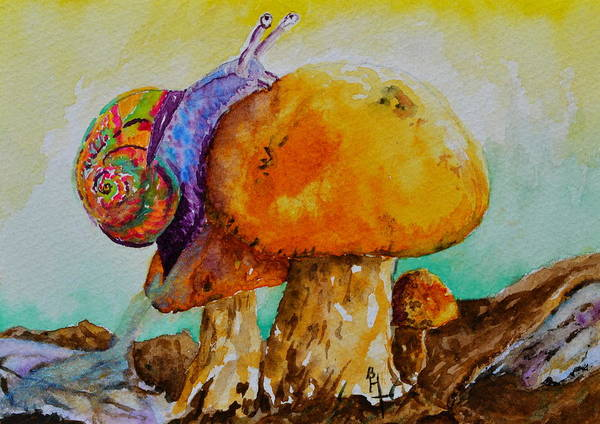 Snail Poster featuring the painting Reaching The Summit by Beverley Harper Tinsley