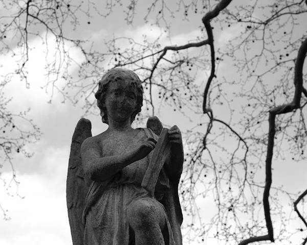 Cemetery Poster featuring the photograph Reading Angel by Jennifer Ancker