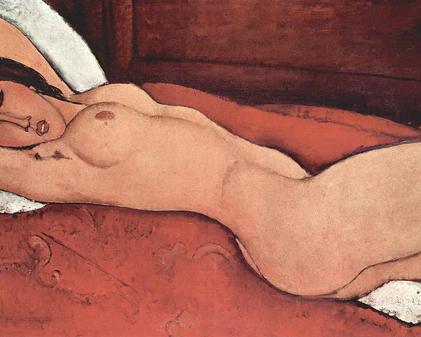 Amadeo Modigliani Poster featuring the painting Reclining Nude With Arms Behind Her Head by Amedeo Modigliani