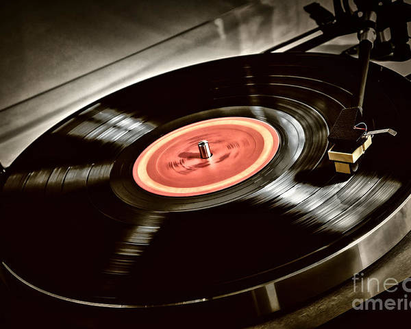 Vinyl Poster featuring the photograph Record On Turntable by Elena Elisseeva