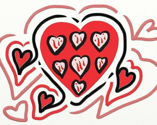 Red And Pink Hearts Poster featuring the digital art Red And Pink Hearts 2 by Kathleen Mosher
