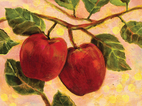 Jen Norton Poster featuring the painting Red Apples On A Branch by Jen Norton