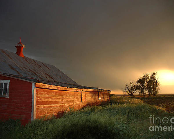 Barn Poster featuring the photograph Red Barn At Sundown by Jerry McElroy