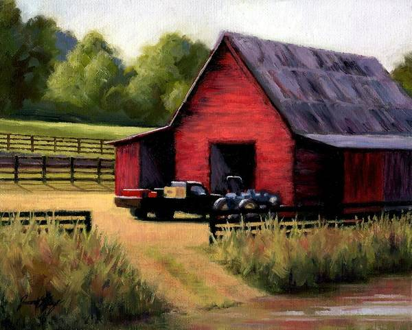 Barn Poster featuring the painting Red Barn In Leiper's Fork Tennessee by Janet King