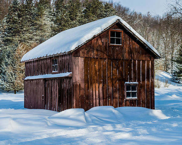 Landscape Poster featuring the photograph Red Barn In Winter by Ray Sheley