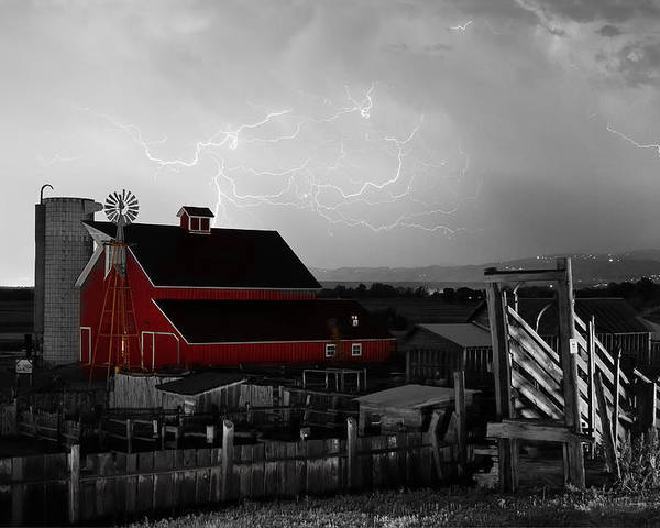 Lightning Poster featuring the photograph Red Barn On The Farm And Lightning Thunderstorm Bwsc by James BO Insogna