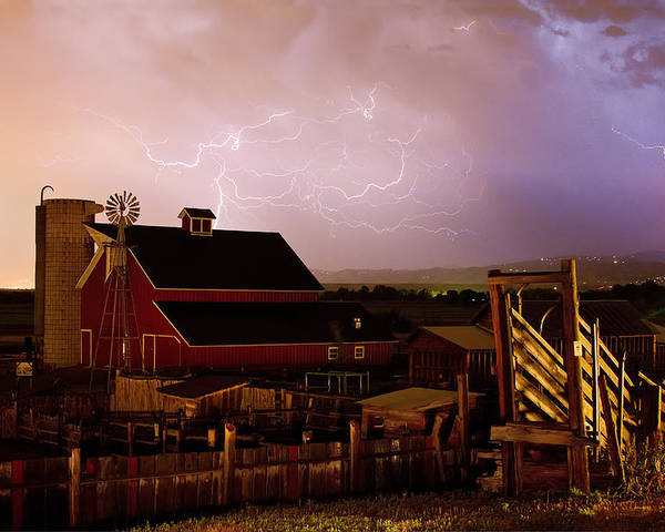 Lightning Poster featuring the photograph Red Barn On The Farm And Lightning Thunderstorm by James BO Insogna