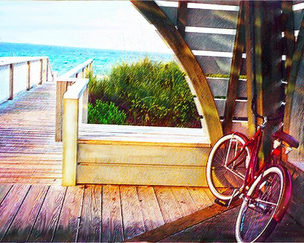Bike Poster featuring the digital art Red Bike On Beach Boardwalk by Jane Schnetlage