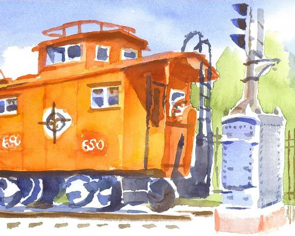 Red Caboose With Signal Poster featuring the painting Red Caboose With Signal by Kip DeVore