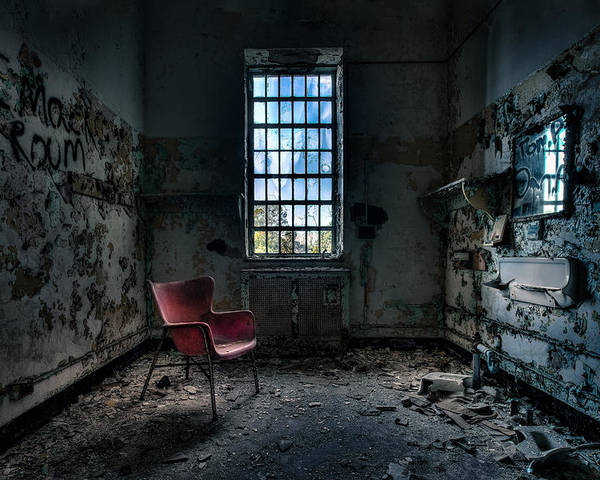 Abandoned Places Poster featuring the photograph Red Chair - Art Deco Decay - Gary Heller by Gary Heller