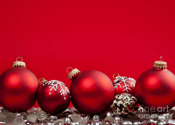 Christmas Poster featuring the photograph Red Christmas Baubles And Decorations by Elena Elisseeva