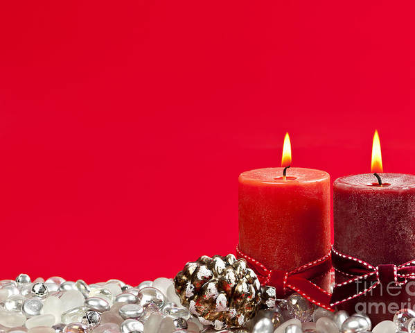 Christmas Poster featuring the photograph Red Christmas Candles by Elena Elisseeva