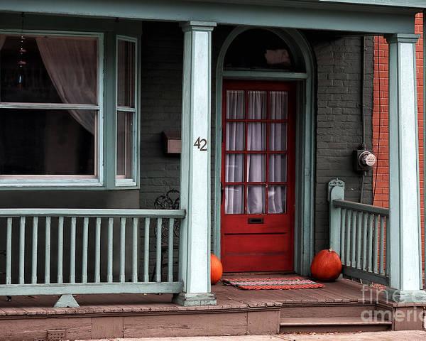 Red Door In Lambertville Poster featuring the photograph Red Door In Lambertville by John Rizzuto