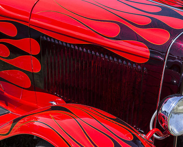 Red Car Poster featuring the photograph Red Flames Hot Rod by Garry Gay