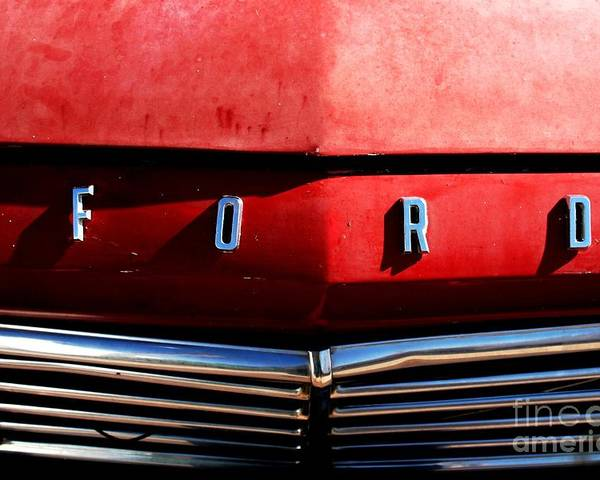 Ford Poster featuring the photograph Red Ford 1 by Kathlene Pizzoferrato