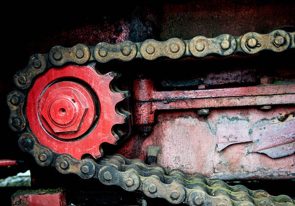 Gear Poster featuring the photograph Red Gear Wheel And Chain Of Old Locomotive by Matthias Hauser