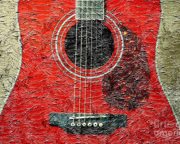 Red Guitar Center Poster featuring the photograph Red Guitar Center - Digital Painting - Music by Barbara Griffin