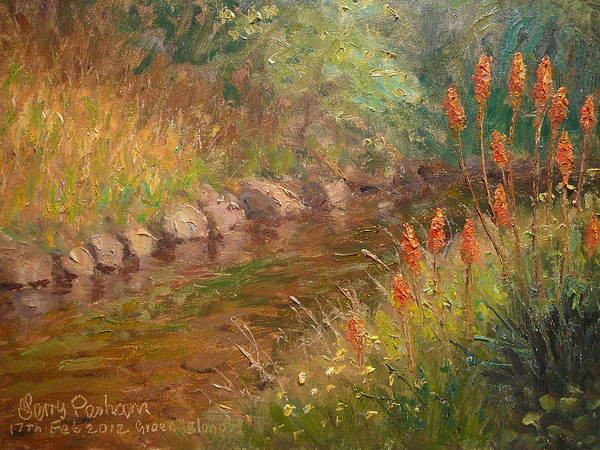 Rivers Poster featuring the painting Red Hot Pokers by Terry Perham