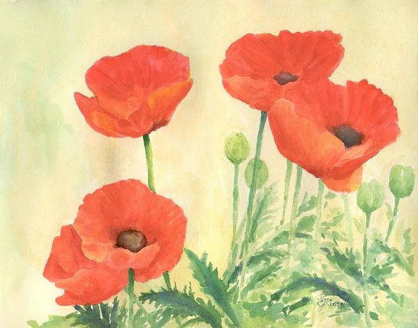 Red Poppies Poster featuring the painting Red Poppies 3 Colorful Watercolor Poppy Floral Original Art Flowers Garden Artist K. Joann Russell by K Joann Russell