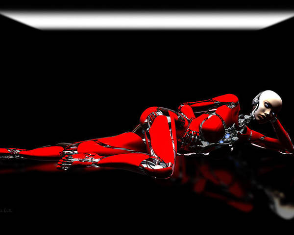 Android Poster featuring the digital art Red Reflection by Bob Orsillo