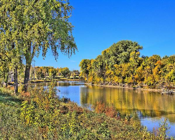 Poster featuring the photograph Red River Beginning Fall by Scott Grassel