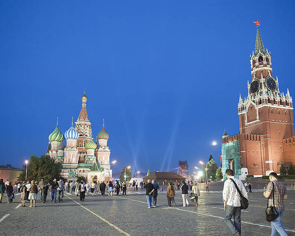 Red Square Poster featuring the photograph Red Square by Gouzel -