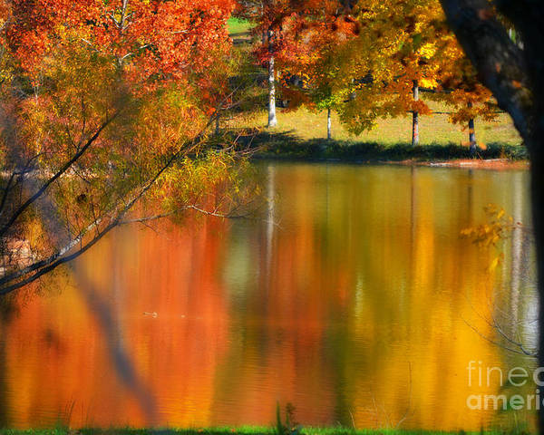 Autumn Poster featuring the photograph Reflection Of My Thoughts Autumn Reflections by Peggy Franz