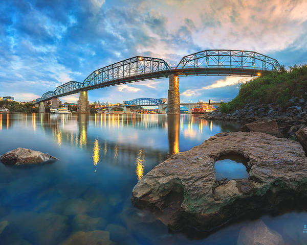 Chattanooga Poster featuring the photograph Reflection Rock At Low Water by Steven Llorca
