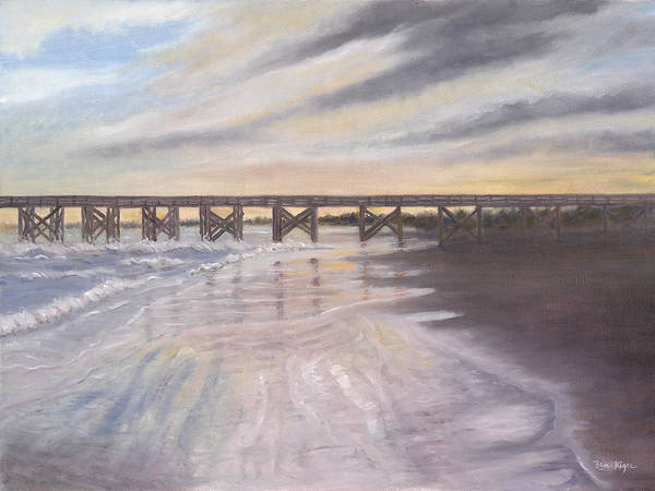 Beach; Pier; Low Country Poster featuring the painting Reflections by Ben Kiger